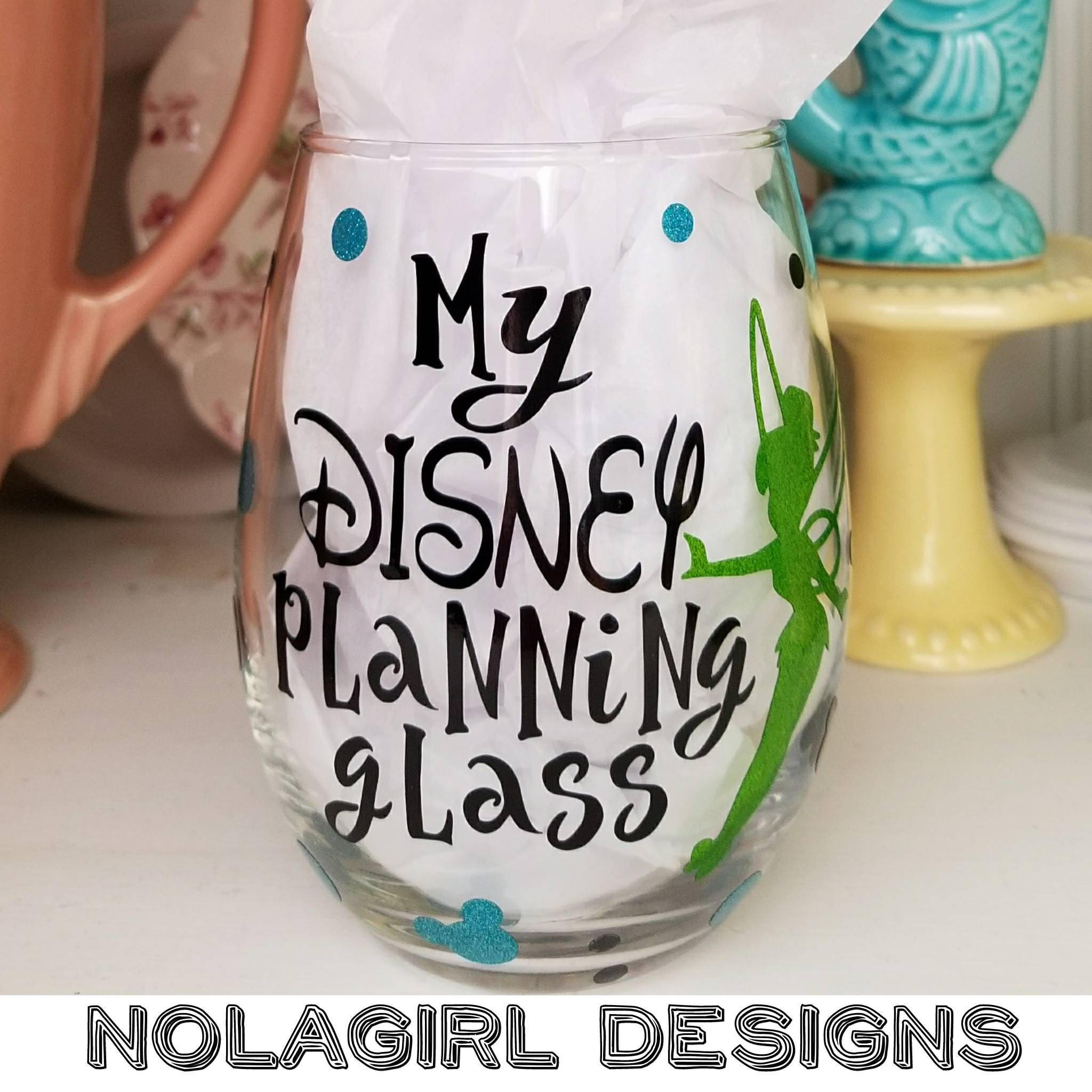 Inspired Vacation Planning Wine Glass Glitter Vinyl