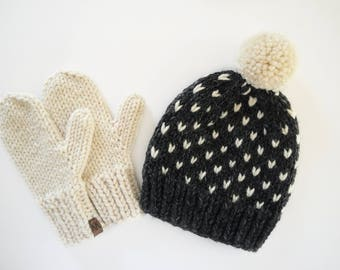 Hat and Mitten Set // Knit Mittens // Knitted Set // Women's Hat and Mittens // Matching Mittens // Fair Isle