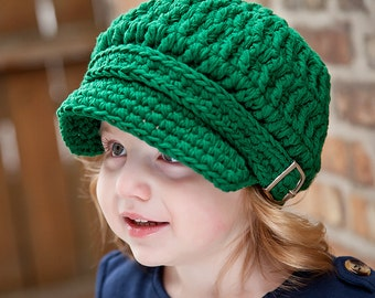 5 Sizes Emerald Green Newsboy Cap Baby Newsboy Hat Toddler Girl Newsboy Toddler Boy Newsboy Womens Newsboy Crochet Newsboy Buckle Winter Hat