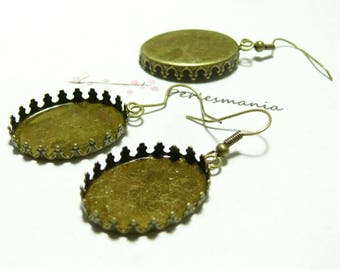 2 support of claw BR 18 by 25mm earrings