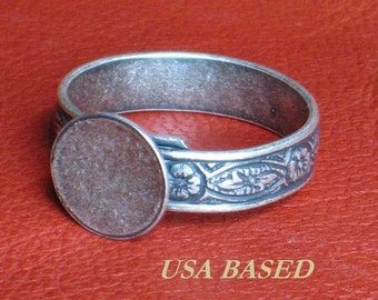 Ring 10mm pad Base Blanks SIX Adjustable Antique Silver plated to Size 10 Lrg band 1st Quality Base Ox finish NO black spot at end of band