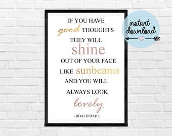 Roald Dahl Quote Print - Instant Download Print - Printable Art - Typograpy