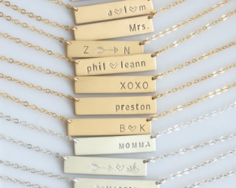 Gold or Silver Name Bar/ Personalized Name Plate/ Personalized Handstamped Name Necklace/ Gift for Her/ New Mom Necklace/LEILAjewelryshop