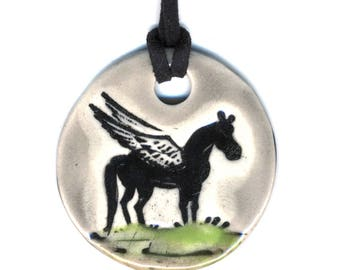 Mystical Pegasus Ceramic Necklace