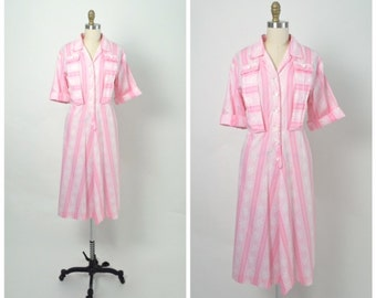 Vintage 1940s Dress Size Large Pink Cotton Stripe