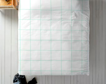 Mint Grid Duvet, Grid Bedding, Mint White Duvet, Geometric Duvet, Queen Duvet, King Duvet, Twin Duvet, Mint Bedding, Grid Decor, Blue Duvet