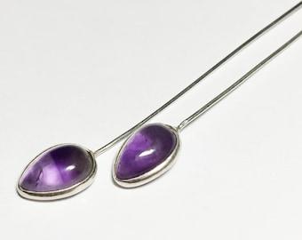 2 pcs, 24 gauge, 2 inch sterling silver amethyst headpins