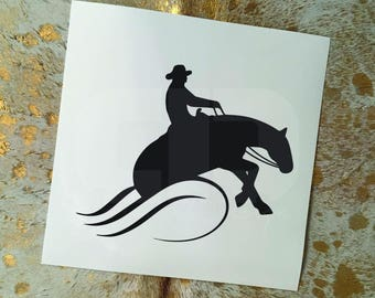 Male Riding Reining Horse Vinyl Sticker