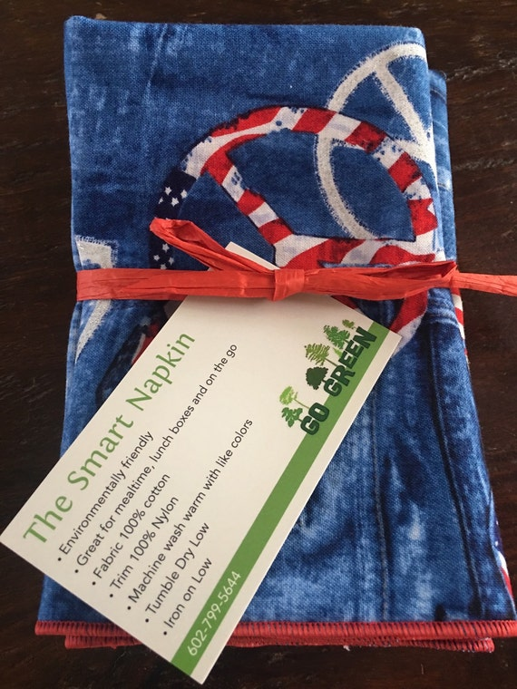 Patriotic Peace Cloth Napkin by Smartkin