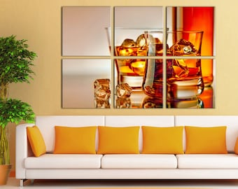 Large Canvas Wall Art Canvas Print Whisky decor Wall Art Home Room Decor Multi Panel canvas Home decor Canvas Home interior Large Canvas