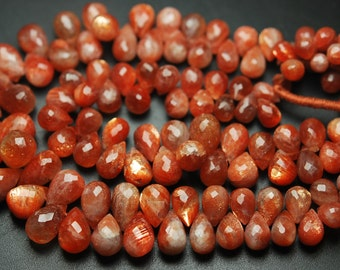 7 Inches Strand.Natural AFRICAN Sunstone Faceted Drops Shape Briolettes,8-10mm size,