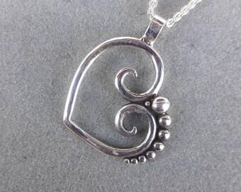 Sterling Silver Asymmetric Swirl Heart Pendant