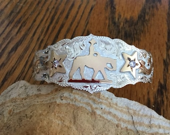 Pleasure horse Cuff Bracelet/ Star florals with clear stones/ Sterling Silver/ Artisan handmade and engraved