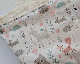 Mini Lovey. Minky Lovey. Minky Blanket. Sweet Woodland Blanket. Deer Blanket. Bear Blanket. Fox Blanket. Minky Baby Blanket. Baby Girl.