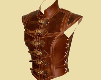 Reinforced jerkin for women -Deluxe- Leather, Larp, Fantasy, LRP