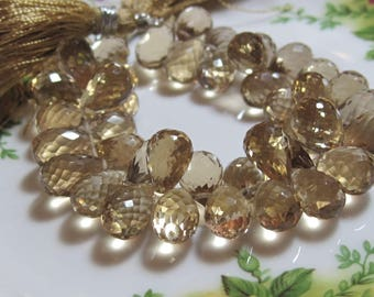 6 Beads Set - AAA Champagne CITRINE  Faceted Teardrop Briolettes
