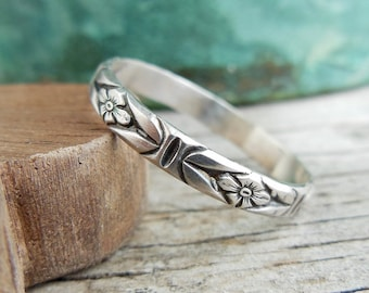 Sterling Silver Stacking Ring, Silver, Floral Ring Design, Rustic Silver Band