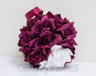 Burgundy white flower ball pomander 7 inch dark red maroon wine for wedding flower girls bridesmaid or decoration