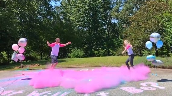 SMOKE BOMB BALL™ The Customizable Gender Reveal Ball By: Poof There It Is!