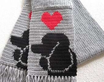 Poodle Scarf. Grey knit and crochet scarf with black poodle dogs and red hearts. Knit poodle gift.