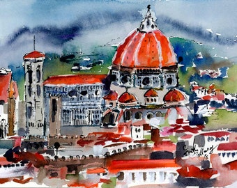 Original Watercolor and Ink Painting Florence Cathedral Italy