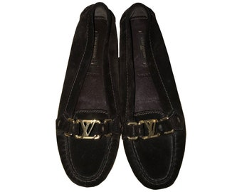 Louis Vuitton Brown   Suede Loafers