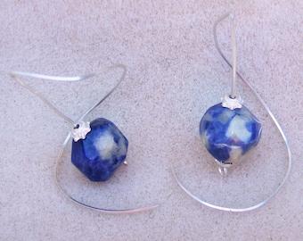 Gorgeous Sodalite Earrings - Handmade Swirls, One Piece Sterling Silver, Blue & White Gemstone by JewelryArtistry - E536