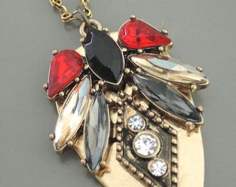 Art Deco Necklace - Vintage Inspired Necklace - Red Black Gray Necklace - Crystal Necklace - Brass Necklace - handmade jewelry