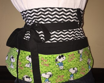 Snoopy Black, White, and Green Half Waist Pocket Apron