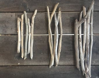 """Large driftwood pieces set of 5  Bundle straight Branches 10-20"""" wall hanging mobiles Driftwood lot bulk driftwood art supply long driftwood"""