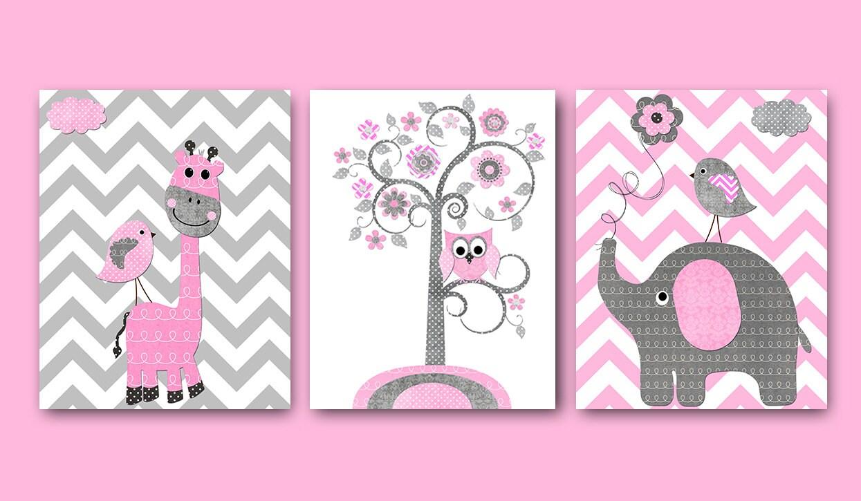 Rosa grau Kinderzimmer Kunst Mädchen Childrens Art Print Baby