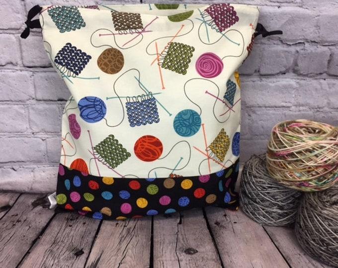 Knitting Swatches, Crochet Project Bag, Yarn Bag, Fiber Project Bag, Sock knitting bag, Shawl project bag