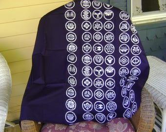 Vintage Furoshiki Fabric/White Circular Motifs With Japanese Symbols On An  Indigo Background/Table