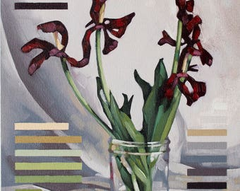"Original Oil Painting, Contemporary Floral Painting of Wilted Tulips, Fine Art Botanical Painting - ""Red Tulips in 21 Colors"""