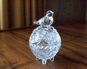 Vintage Crystal bird on egg trinket box (#EV401)