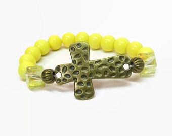 Yellow Sideways Cross Bracelet, Yellow Boho Cross Bracelet, Gold Cross Stretch Bracelet, Religious Bracelet