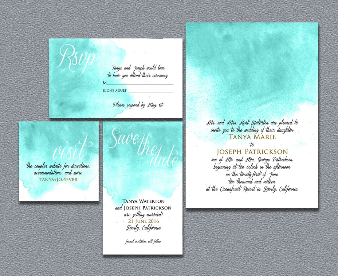 printable watercolor wedding invitation template diy by nraevsky ...