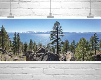 Lake Tahoe Photograph, Panoramic Art, Lake Tahoe Picture, Tahoe Art, Tahoe Print, Sierra Mountains, Mountain Forest Art, Tahoe Gift