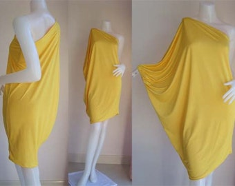 Yellow one shoulder Short evening dress casual elegance all size