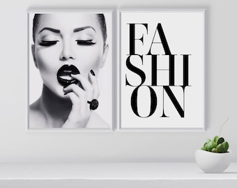 Fashion Wall Art Set, Set Of 2 Prints, Black And White Gallery Wall Art