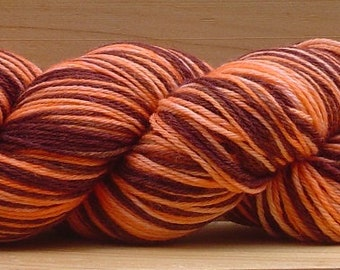 Self-Striping Sock (4Ply), hand-dyed yarn, 100g - Choc-Work Orange