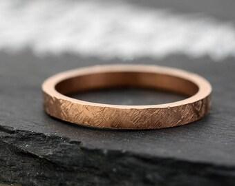 Rose Gold Wedding Band-  Women's Hammered Engagement Ring 14k Rose Gold Ring -White Gold Ring - Yellow Gold Ring Stacking Rings -
