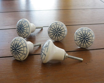 Compass Blue and White Ceramic Knob / Dresser Drawer Knob / Drawer Pull / Cabinet Door Knob / Nautical Decor / Beach Decor/ Sea Accent
