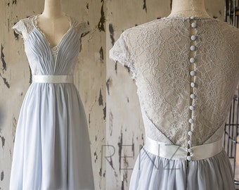 Medium Gray Lace Bridesmaid Dress, Knee Length Wedding Dress, Cap Sleeve Formal Dress,Gray Short Prom Dress, Cocktail Dress(F143)-Renzrags