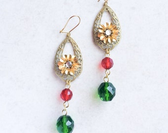 Red Green Flamenco Earrings, Gold Flamenco Flower Earrings