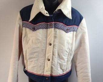 Vintage 70s 80s Levi's Big E Ski trucker jacket denim western style red white and blue