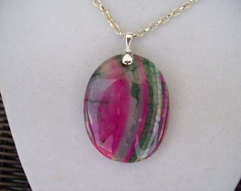 "Pink and Green Dragons Veins Agate Pendant 2"" long"