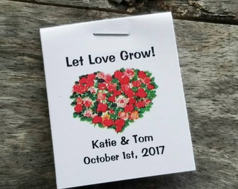 Let Love Grow- Red Pink Floral Heart Design Flower Seed Favors - Bridal Shower Favors - Wedding Favors Personalized Shabby Chic Seed Packets