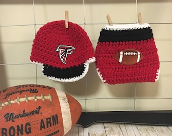 Newborn Atlanta Falcons cap and diaper cover, newborn Falcons photo props, Atlanta Falcons baby hat and diaper cover