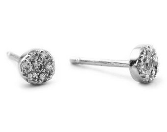 Diamond Studs,  14K White Gold Diamond Earrings, Diamond Earrings, Diamond Bridal Earrings, Gifts for Her, Wedding Jewelry, Free Shipping